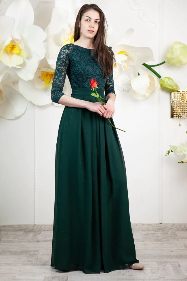 Emerald Green Bridesmaid Dress with Sleeves