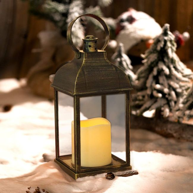 Rustic Wedding Centerpiece with Lantern with Timer