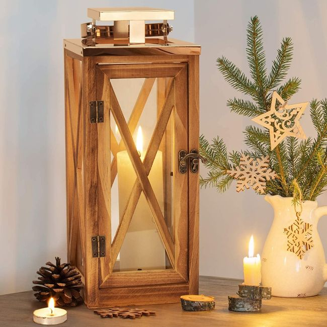 Rustic Wedding Centerpiece with Wooden Hurricane Candle Lantern